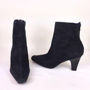 Aerosoles Black Suede Ankle Boots w/ Snip Toe